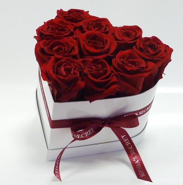 Herzbox weiß Rosenfarbe rot Ø16cmH14cm