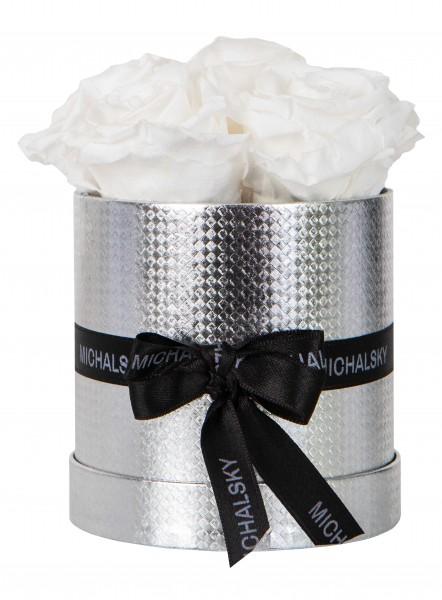Michalsky Rosenbox rund in Silber Luci mit Rosen in Weiß
