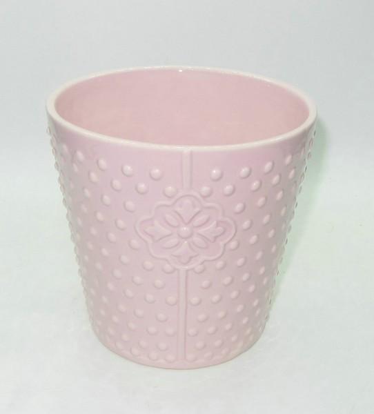 Topf mit Punkten + Blumen pink Ø15,5H15 cm