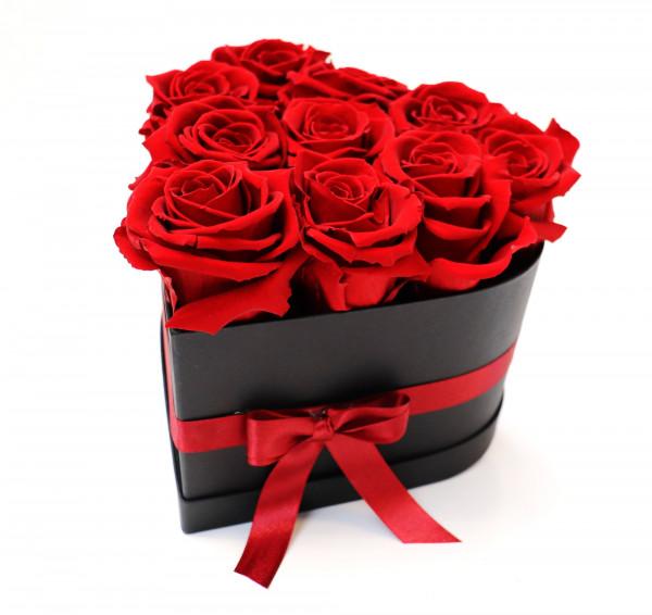 Sansibar Herzbox schwarz Rose rot Ø16cm H14cm