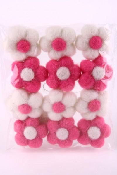 Filz Streublüte Ø5cm weiss-rosa