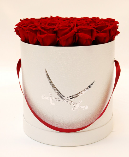 Sansibar Hutschachtel Leder weiß Rose rot Ø25cm H29cm