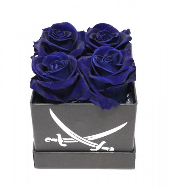 Sansibar Rosenbox eckig schwarz Rose blau L/B10cm H13cm