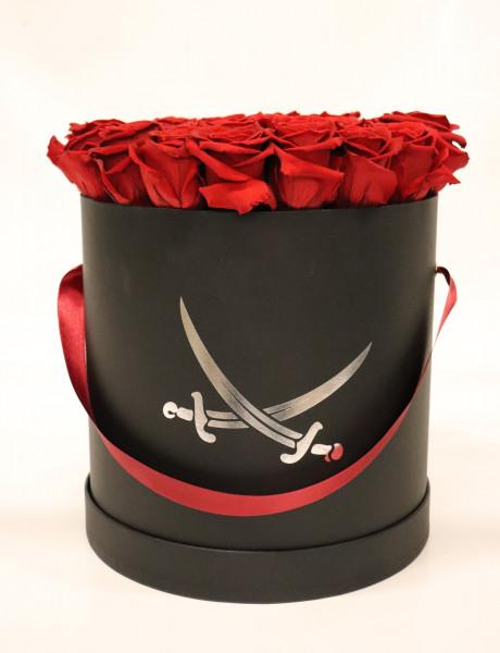 Sansibar Hutschachtel schwarz Rose rot Ø25cm H29cm