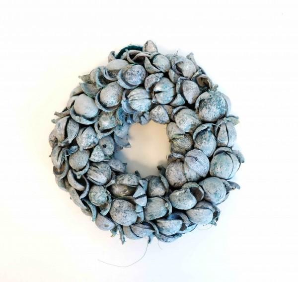Betelnusskranz blau-washed Ø20cm