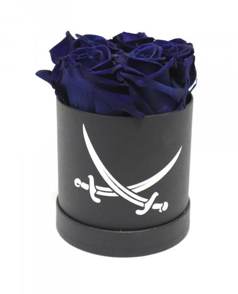 Sansibar Rosenbox rund schwarz Rose blau Ø10cm H14cm