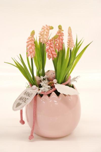 Keramikei mit Muscari rosa Ø16cm H27cm