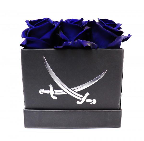 Sansibar Rosenbox eckig schwarz Rose blau L/B12cm H13cm