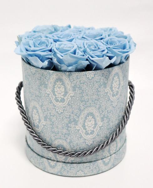 Hutschachtel Motiv Spitze blau