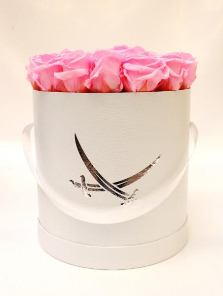 Sansibar Hutschachtel Leder weiß Rose pink Ø25cm H29cm