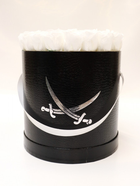 Sansibar Hutschachtel Leder schwarz Rose weiß Ø25cm H29cm