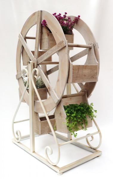 Deko Wasserrad zum Bepflanzen natur L65cm B32cm H94cm